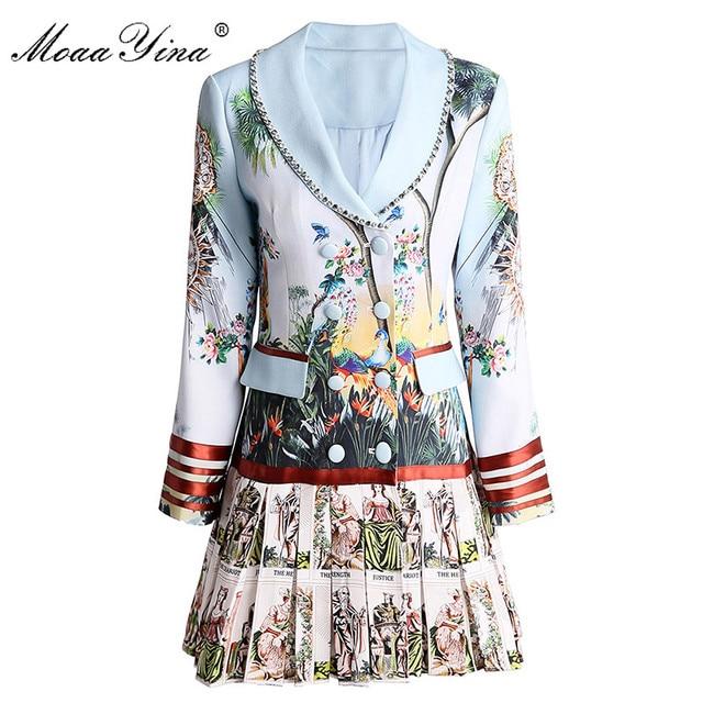 MoaaYina אופנה מעצב שמלת אביב סתיו נשים של שמלה ארוך שרוול הדפסת חרוזים טור כפתורים כפול קפלים שמלות