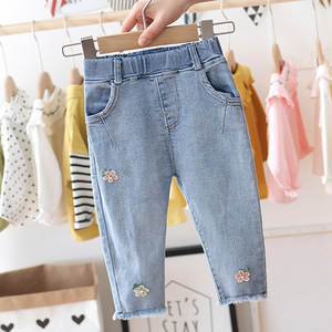 Pants Girls Jeans Child New Autumn Flower Spring Fashion Denim Slacks Embroidered Sweet