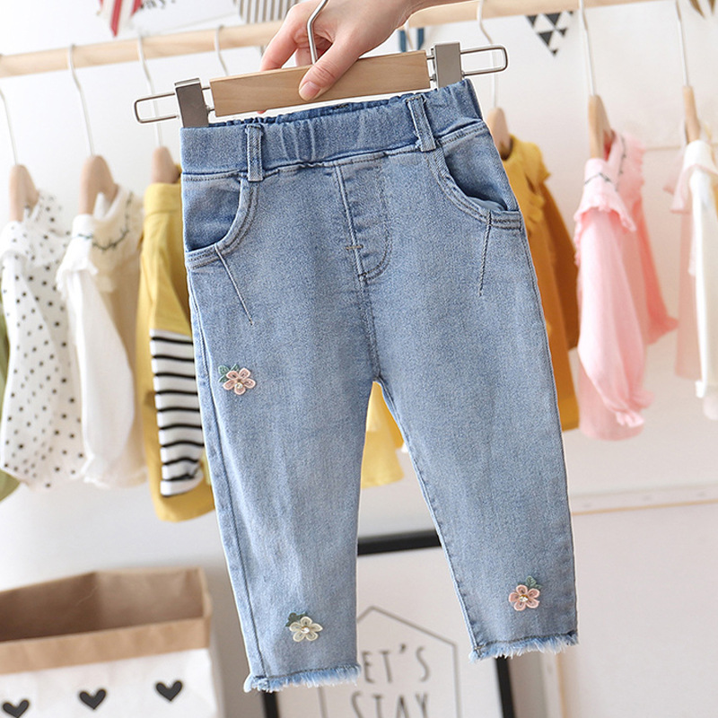 Baby Girls Sweet Jeans Spring Autumn Girls Flower Embroidered Princess Denim Pants New Child Slacks Children Fashionable Pants