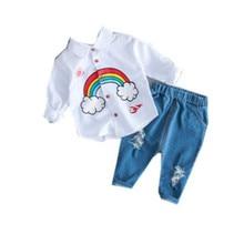 Summer Kids Toddler rainbow Shirts Jeans 2pcs/set 1-4 Years Clothing Set Short Sleeve Cotton Suit Children Boys Outfit