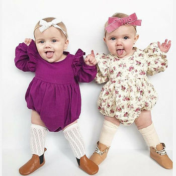 Flying Sleeve Romper Cotton Baby Autumn Rompers Vintage Girl Long Clothes