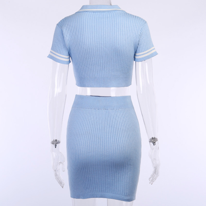 Hc37c961138a74b968643f66be8bfb09bW - InstaHot Sexy 2 Pieces Set Women Turn Down Collar T shirt Mini Skirt Slim Stretch Short Sleeve Summer Casual Outfit 2Piece Set