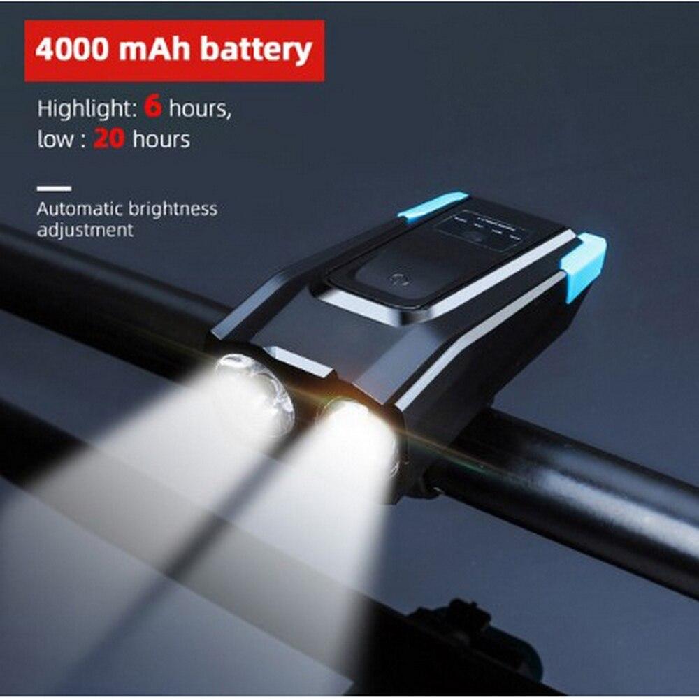 4000mAh Induction Bike Light Kit USB Rechargeable Smart Headlight 5 Sound Switch 800 Lumens LED Bike Light Cycle Flashlight