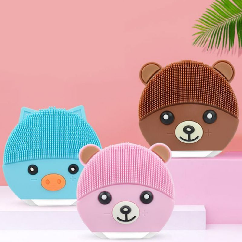 New Cute Bear Electric Vibration USB Rechargeable Silicone Facial Cleanser Adjustable Massage Brush Face Cleansing Brush