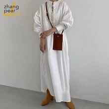 Laço-up maxi longo vestido branco feminino manga comprida elegante vestido de bandagem sólido o pescoço tornozelo-comprimento vestido