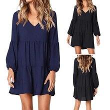 De las mujeres de la moda de linterna de manga larga con cuello en V vestido Mini vestido negro suave vestidos novedad de verano llegada 2019