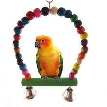 Toy Cockatiel Parrot Budgie Lovebird Cage-Toys Swing Parakeet Finch Wood Colorful
