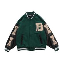 2021 HOT Hip Hop Style Furry Bone Patchwork Color Block Jackets Mens Harajuku Streetwear Bomber Jacket Men Baseball Coats Unisex