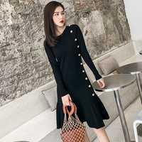 Moda dzianiny sukienka nowy jesień zima Ruffles sweter Sukienki kobiet jednorzędowy eleganckie suknie Fishtail Vestidos kobiet