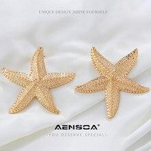 AENSOA Mode 2021 Große Übertrieben Glänzenden Stern Drop Ohrringe für Frauen Korea Große Seesterne Metall Erklärung Baumeln Ohrringe Geschenk