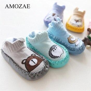 Unisex Newborn Padrão Animal Infantil Engraçado Pé Meias Anti-Slip Meias Com Sola de Borracha Macia Do Bebê Da Menina do Menino Do Bebê menina Meias Bonito