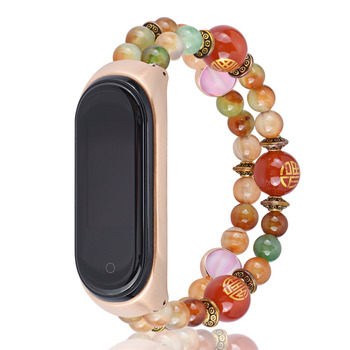 Women Agate Bracelet Strap Chinese Style Watch Band for Xiaomi MI Band 4 3 Replace Wristband for MIband 4 Smartwatch Accessories