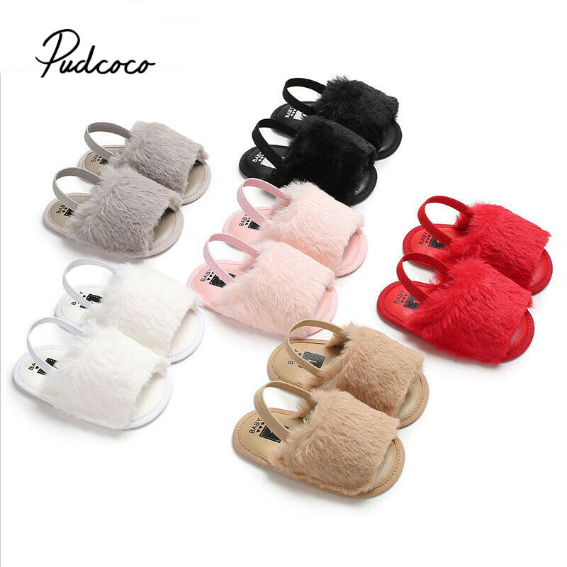 2020 Summer Soft Hair Style Classic Baby Girl Slipper Sandals Breathable Baby Fur Shoes Simple Elastic Sandals Princess Baby