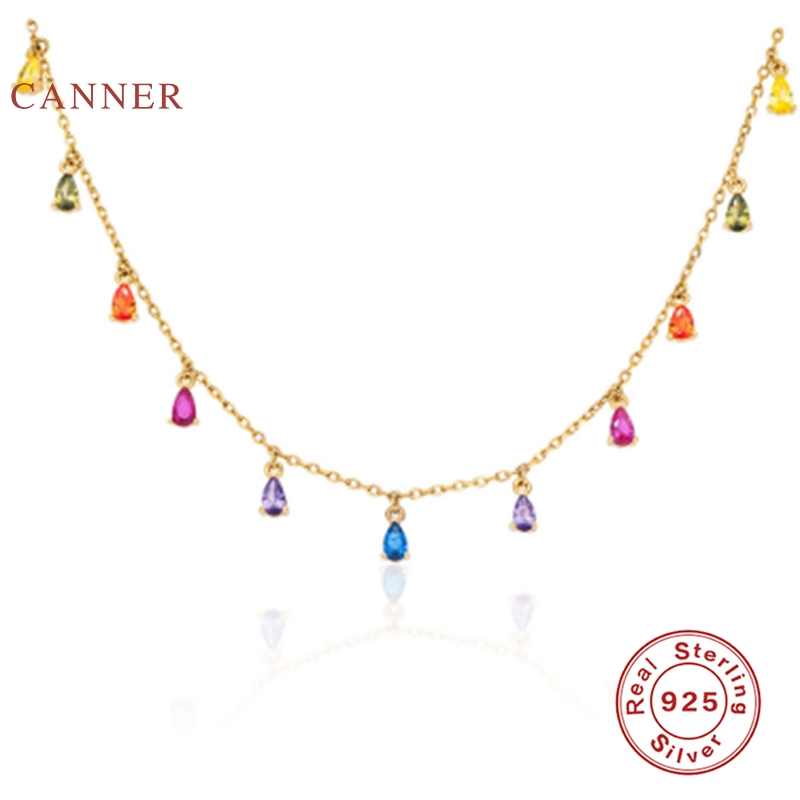 CANNER Stars Moon Real 925 Sterling Silver Necklace For Women 2020 Jewelry Pearl Fancy Diamond Chain Choker Necklace Bijoux|Necklaces| - AliExpress