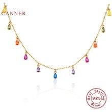 CANNER-collar con Plata de Ley 925 auténtica de Luna y estrellas para mujer, joyería de perlas, gargantilla de cadena de diamantes de lujo, bisutería 2020
