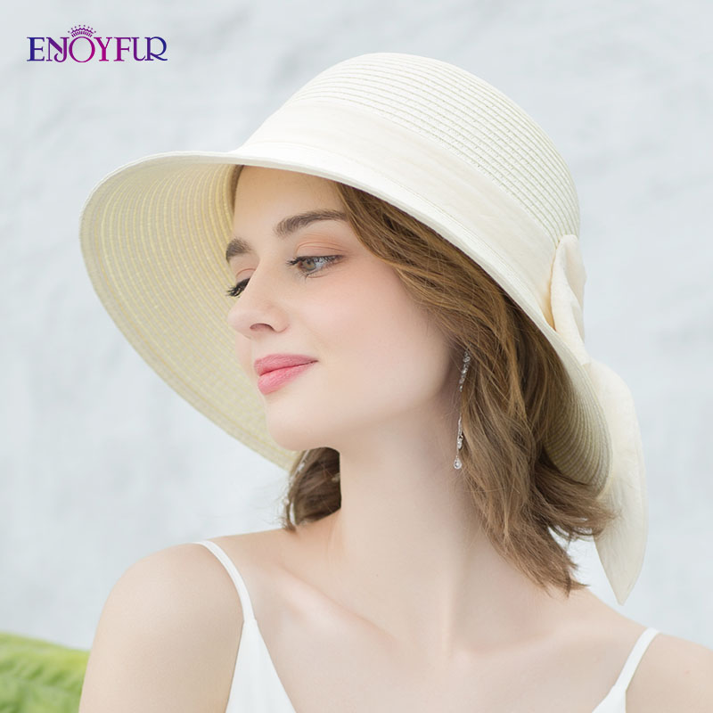 ENJOYFUR Summer Sun Hats For Women New Arrival Ribbon Bow-knot Beach Hat Casual Sun Hats For Vacation