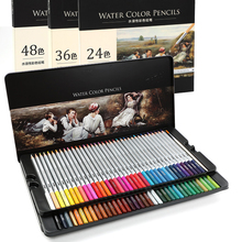DELI 24/36/48/72 Colors Water-soluble Colored Pencils Artist Painting Wood Non-toxic Color Pencil For School Drawing Sketch Set 120 160 oil colored pencils set safe non toxic wood artist painting pastel pencil colors for drawing manga sketch art supplies