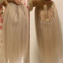 Human-Hair-Extension Topper Toupee Piece Remy-Hair Blonde Lace Women Straight Weft