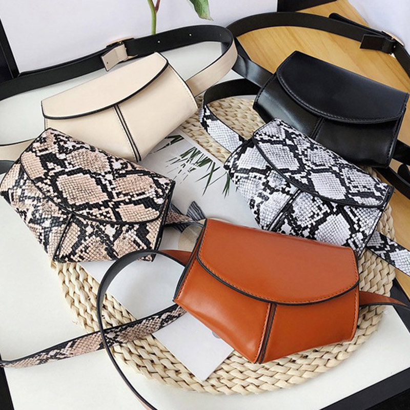 Snake Printing Waist Bag Shoulder Messenger Handbags Women PU Leather Belt Packs Casual Phone Money Pouch Crossbody Chest Bags