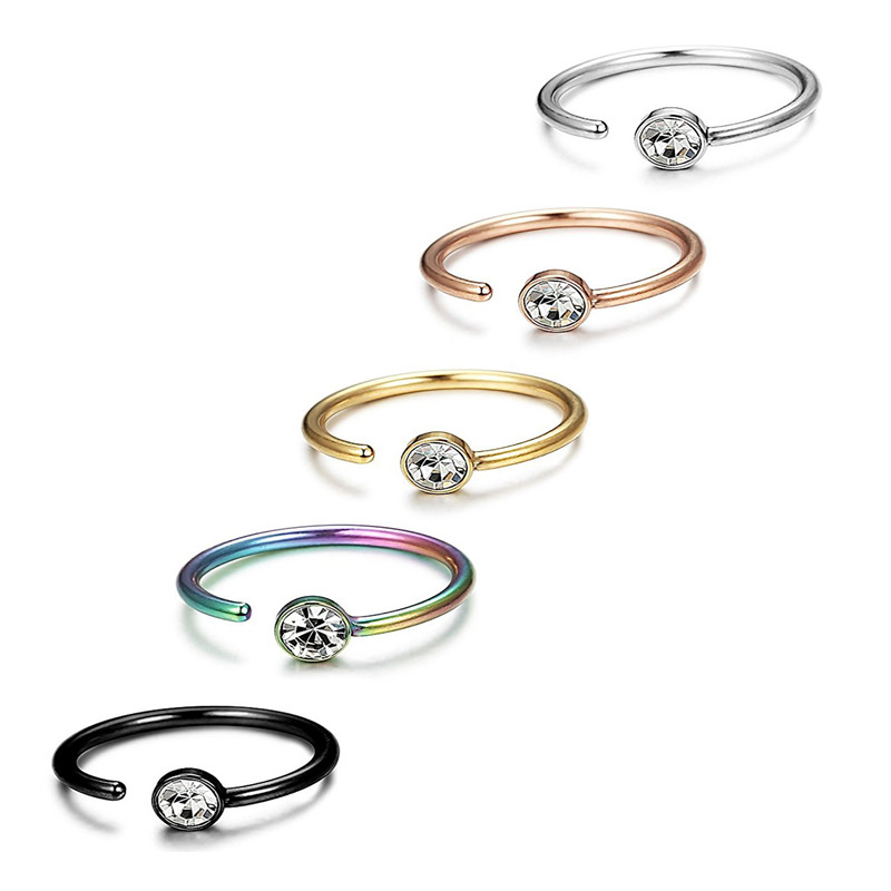 Stainless Steel 8mm/10mm C Shape Nose Ring Cubic Zirconia Tragus Helix Cartilage Conch Rook Lobe 20G Ear Piercing Jewelry