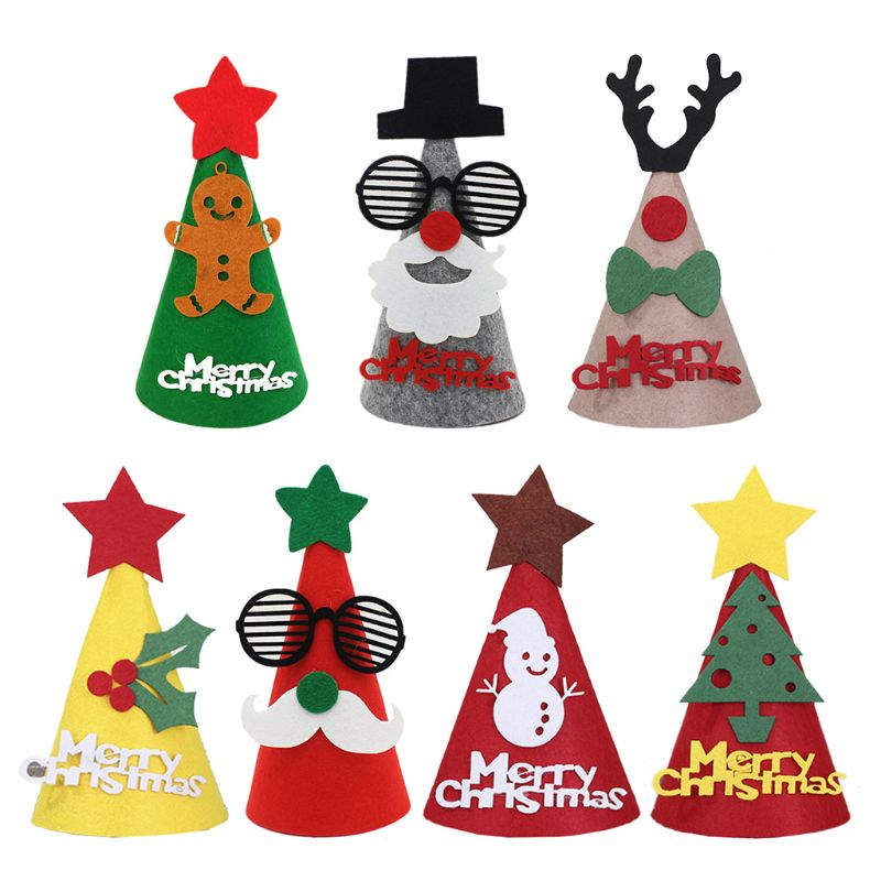 Non-woven Christmas Hat Felt Cloth Cartoon Hat For Children Xmas Holiday Party Favors Supplies Accessoriess