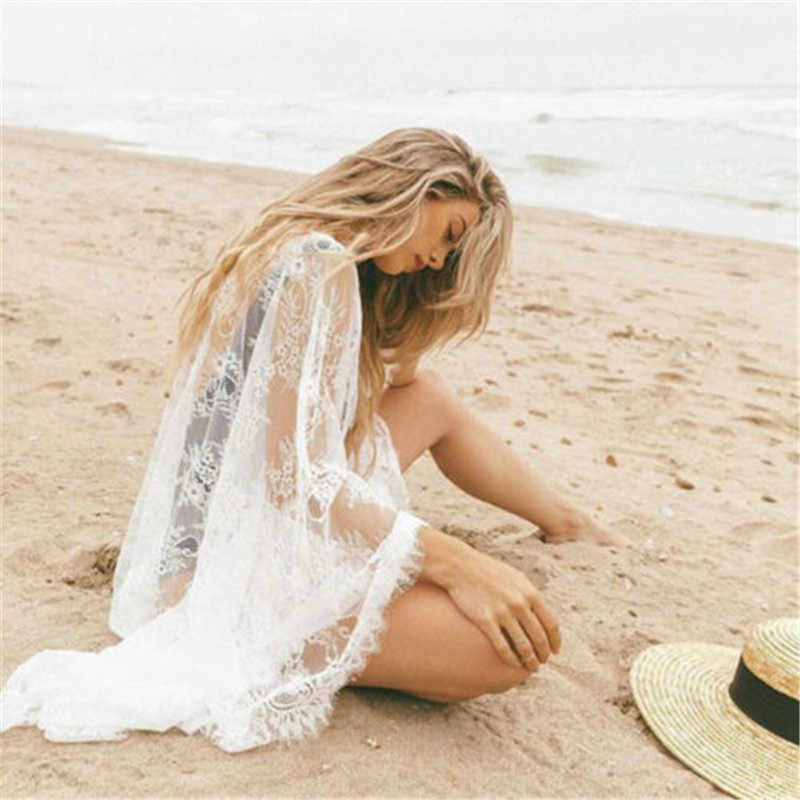 Delle donne Del Fiore Del Merletto Cardigan Spiaggia Vestito Lungo Nero Bianco Prendisole e Camicioni Sexy di Occultamento del Bikini Protezione Solare Beachwear
