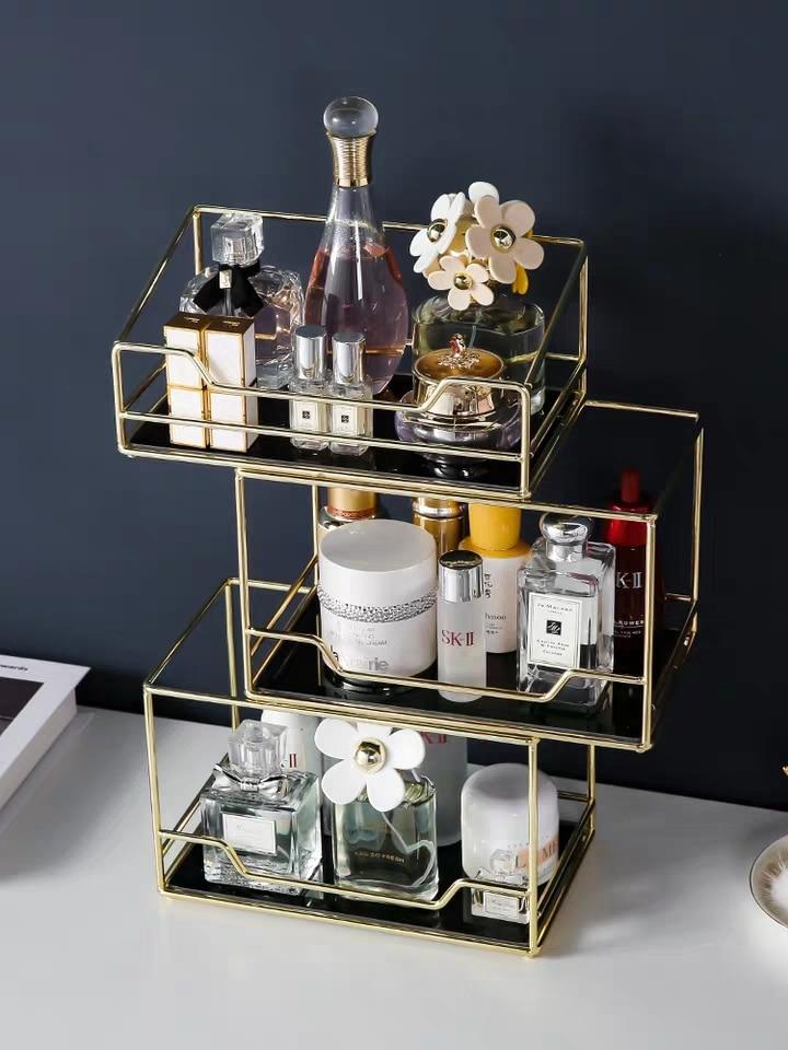 Nordic Rotating Cosmetic Desktop Storage Box Transparent Makeup Organizer 2 Tiers Glass Tray Dressing Table Finishing Rack