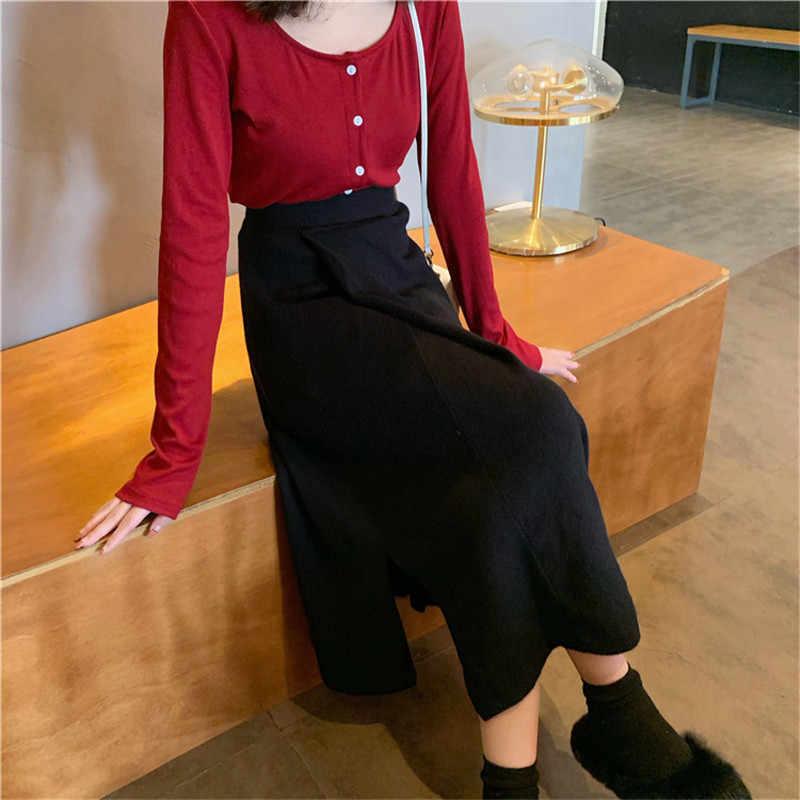 2020 新エレガントな固体女性ミディスカートルースハイウエストスリムニット黒スカートカジュアルスプリット A ラインスカートオフィスの女性作業服