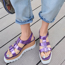 Punk Creepers Women Genuine Leather Wedges High Heel Roman Gladiator Sandals Female Ankle Strap Open Toe Platform Oxfords Shoes aiykazysdl gladiator roman sandals metallic faux leather strappy creepers ultra very high heel platform shoes square thick heels