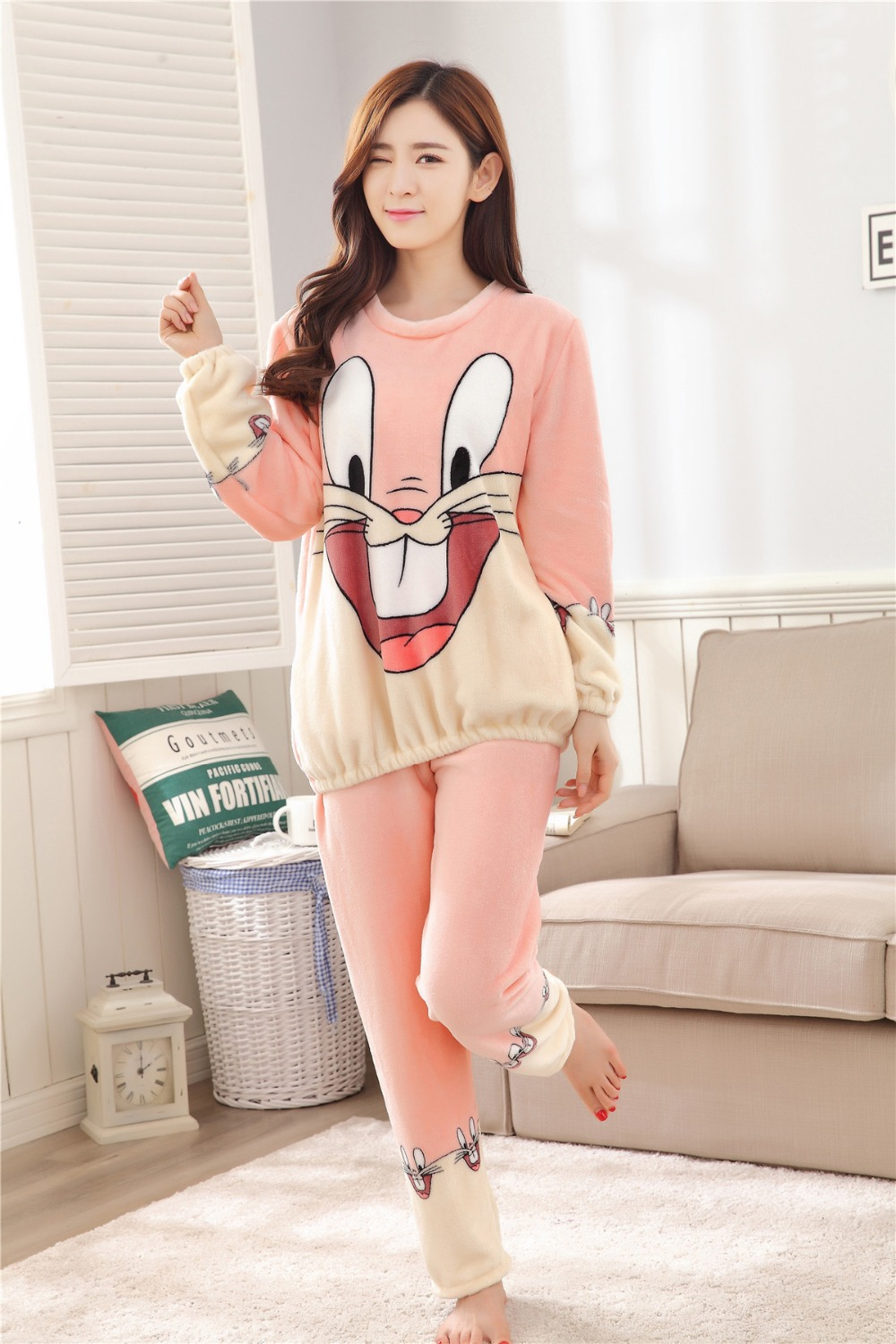 Women Pajamas Set For Autumn cute cartoon pink Women Clothes Sleepwear Nightgown For Women Long Sleeve And Pants Hot Sale pijama 56