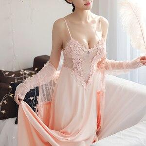 Image 1 - 女性パジャマセクシーなグリーンレースパジャマローブプリンセスドレスネグリジェエレガントなヨーロッパスタイルナイトウェア vestidos
