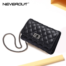 Купить с кэшбэком NEVEROUT Genuine Leather Shoulder Bag for Women Cell Phone Purse Crossbody Ladies Small Quilted Bag Sac a Main Messenger Bags