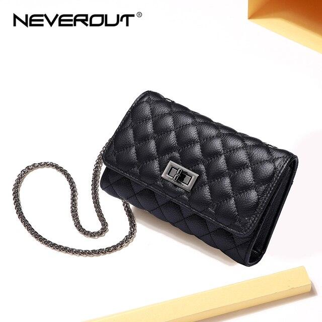 NEVEROUT 本物の革の女性の携帯電話財布クロスボディ女性の小さなキルティングバッグメインメッセンジャーバッグ
