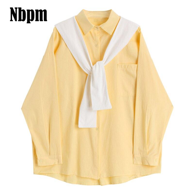 Блузка Женская Офисная из хлопка с длинным рукавом, модная рубашка в Корейском стиле, базовая одежда из двух предметов, весна 2021