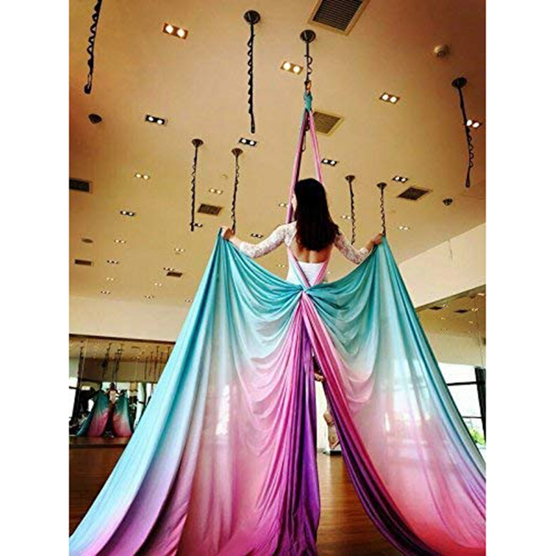 NEW-Aerial Yoga Hammock Pilates Yoga Swing Set Gradation Color Anti-Gravity Inversion Trapeze Device Gym Fitness Equipment