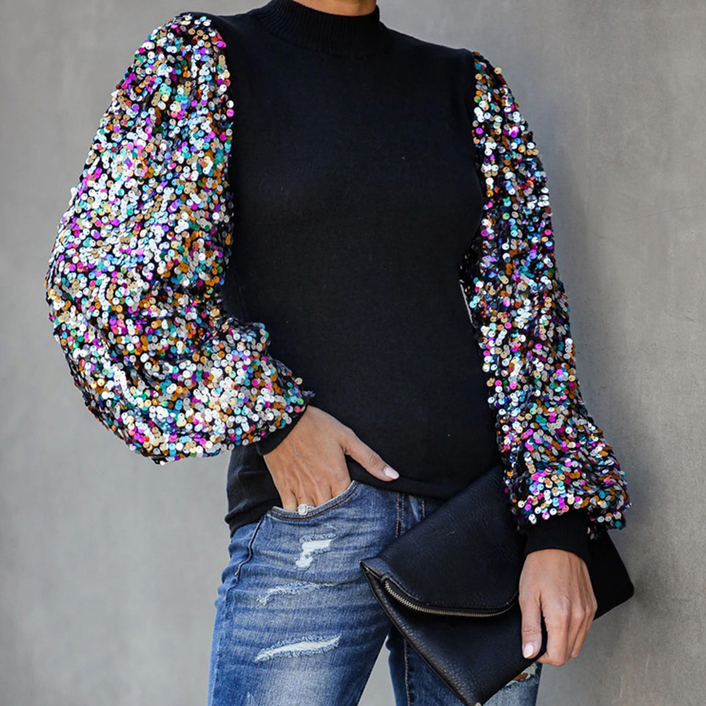 Women Sequins Tops And Blouses Autumn Winter Puff Sleeve Turtleneck Casual Shirt Solid Black Long Sleeve Camisa De Mujer D40
