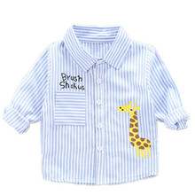 2019 new baby boys shirt fashion long sleeve  cotton plaid spring and autumn cartoon deer quality shirts