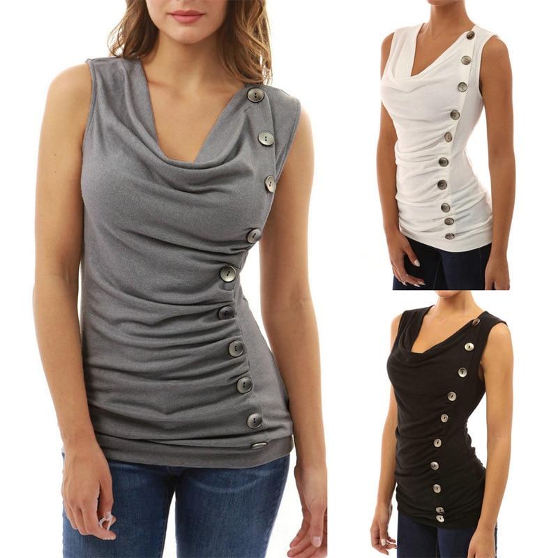 Women's V-neck Sleeveless Irregular Slim T-shirt Tops Ladies Plus Size Sexy Shirt Button Solid Color TShirts Summer T Shirts
