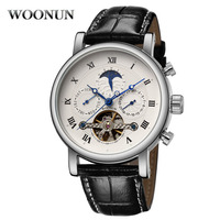New Men's Watches Tourbillon Men Watches Leather Band Automatic Mechanical Watches Fashion Casual Man Watch Reloje Hombre