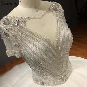 Image 5 - לבן קצר שרוולים Sparkle גבוהה סוף חתונת שמלות סקסיות ואגלי יהלומי יוקרה כלה שמלות HA2275 תפור לפי מידה