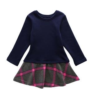 Image 3 - חדש 2020 ילדה שמלת תינוק נסיכת שמלת פנאי ילדים טלאי שמלת ילדי בגדי קלאסי משובצים פעוט שמלת כותנה, #3978