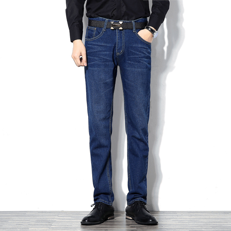 Spring And Autumn New Style Large Size MEN'S Jeans Fashion Slim Fit Solid Color Simple Cowboy Casual Pants