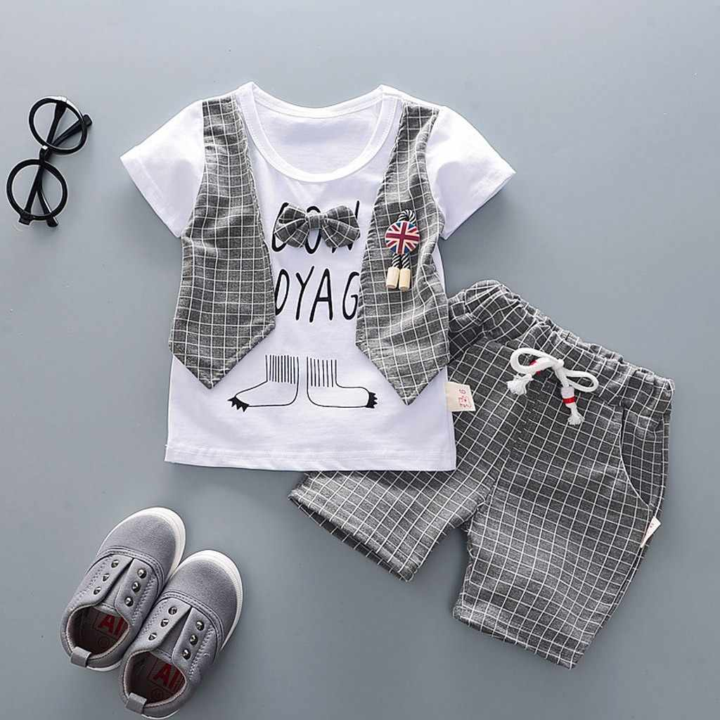 Toddler Baby Boys Gentleman Bow T-shirt Tops Shorts Pants Outfits Clothes Set kids dresses for boys conjunto menino toddler boy