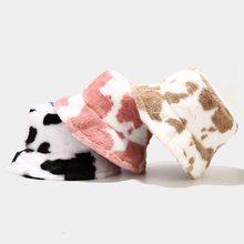 Novo inverno vaca impressão balde de pelúcia chapéus para as mulheres turismo ao ar livre quente chapéu de veludo macio pescador boné senhora moda panamá presente