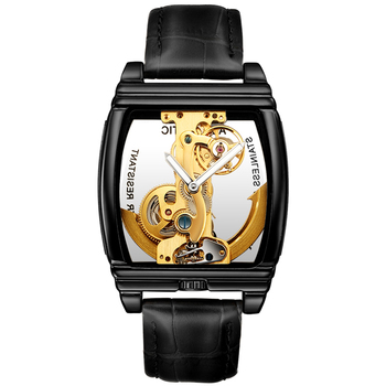Luxury Transparent Automatic Mechanical Men Watch Steampunk Skeleton Gear Self Winding Leather Men's Clock Watches montre homme sewor mens luxury gold skeleton mechanical hand wind watch men wrist watches clock watches montre automatique homme relogios