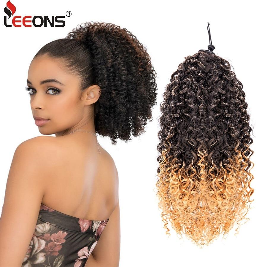 Leeons-coletero rizado Afro, rizado, cola de caballo, extensión de cabello sintético, Clip en la cola del pelo, peluca, coleta