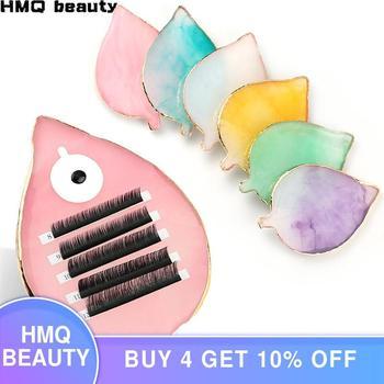 1 pcs False Eyelash Extension Stand Pallet Pad Resin Leaf-like Lashes glue Holder For Fake Eyelashes Extension Makeup Tools недорого