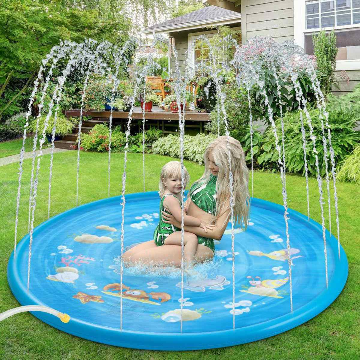 Kids Inflatable Round Water Splash Play Pool 100cm Playing Sprinkler Mat Yard Outdoor Fun Multicolour PVC Swimming Pools