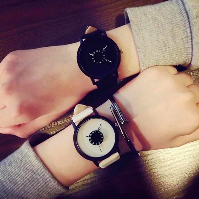 Hot Creative Watch Unique Dial Design Lover's Watch Fashion Casual Women Men Quartz-watch Minimalist watch Leather Wristwatches