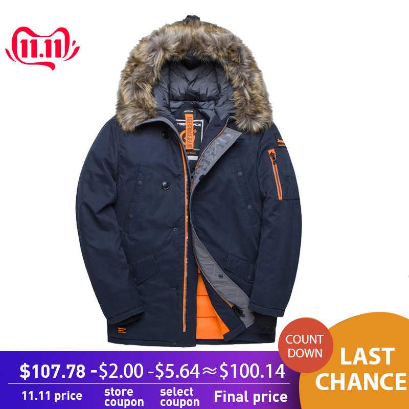 TIGER FORCE куртка мужская зимняя аляска куртка парка мужская кофта зимняя куртка для мужчин mens winter jackets Russia men coats